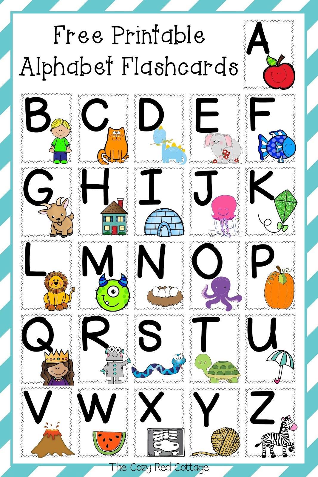 The Cozy Red Cottage: Free Printable Alphabet Flashcards - Free Printable Abc Flashcards With Pictures
