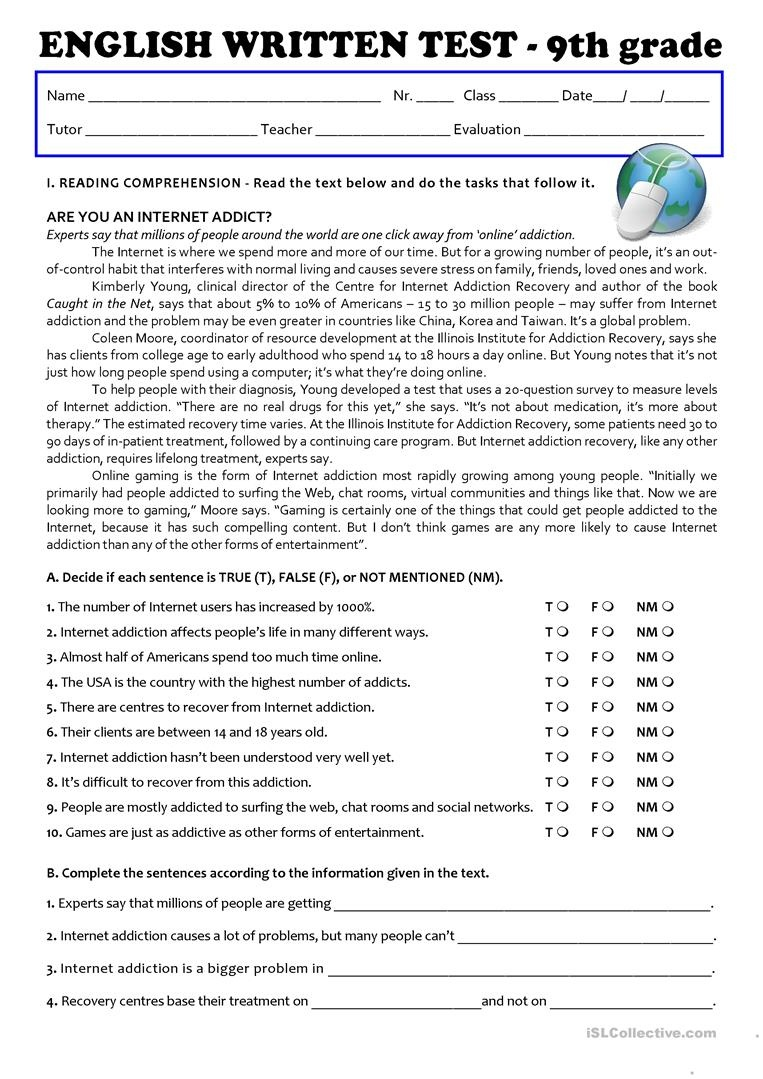 9Th Grade English Worksheets Free Printable   Free ...