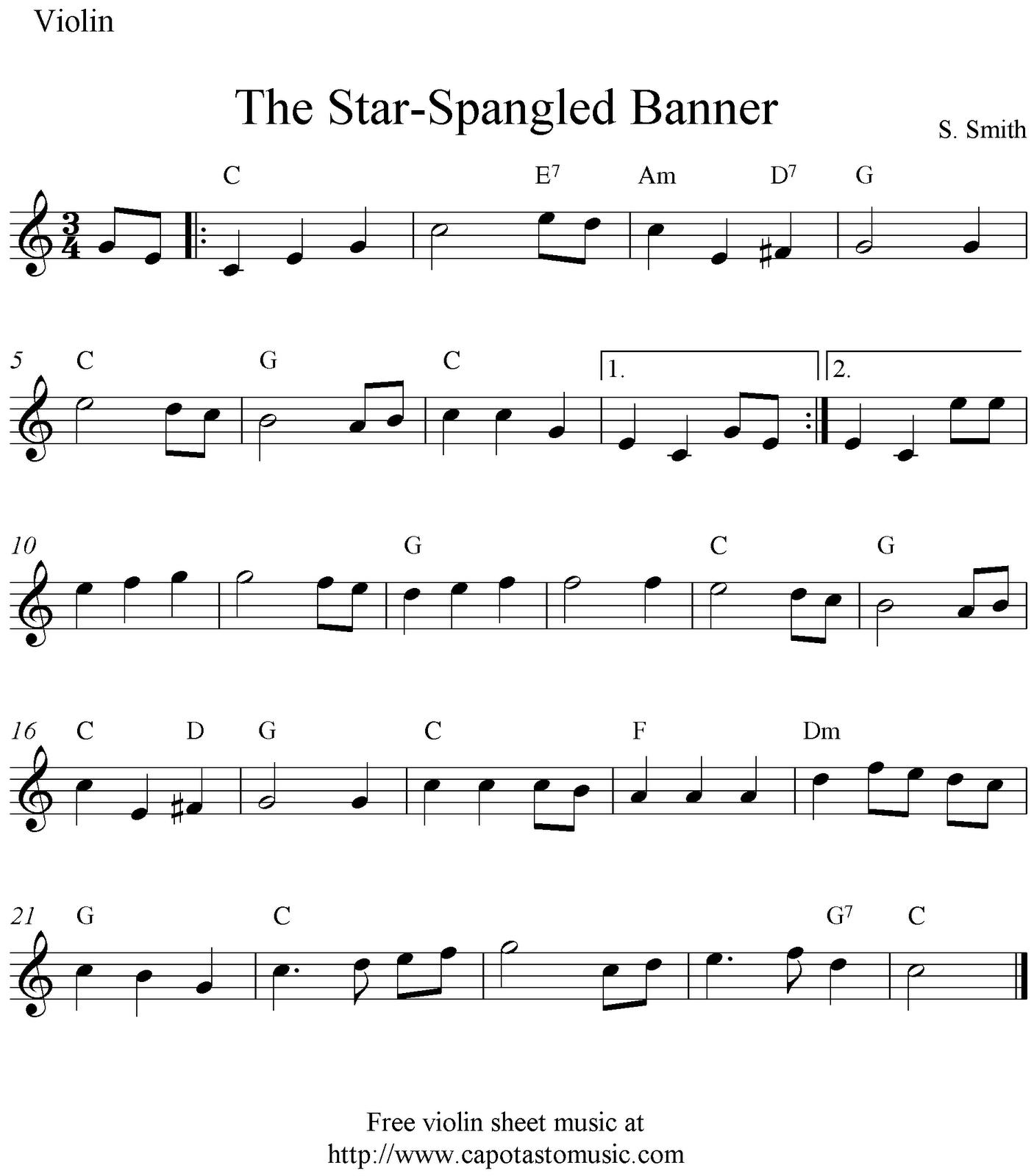 The Star-Spangled Banner, Free Easy Violin Sheet Music Notes - Free Printable Piano Sheet Music For The Star Spangled Banner