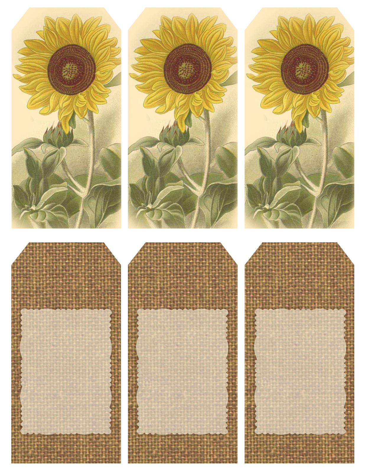 """Those Who Bring Sunshine"""" ~ Printable Sheet Of 6 Sunflower And - Free Printable Sunflower Template"""