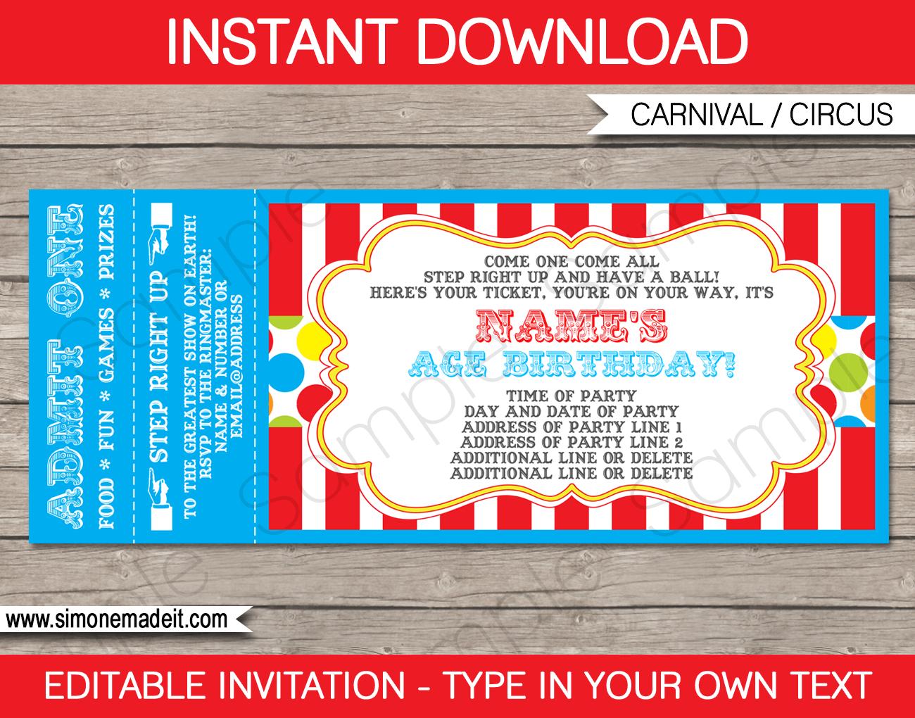 Ticket Invitation Maker - Kaza.psstech.co - Free Printable Ticket Invitation Templates