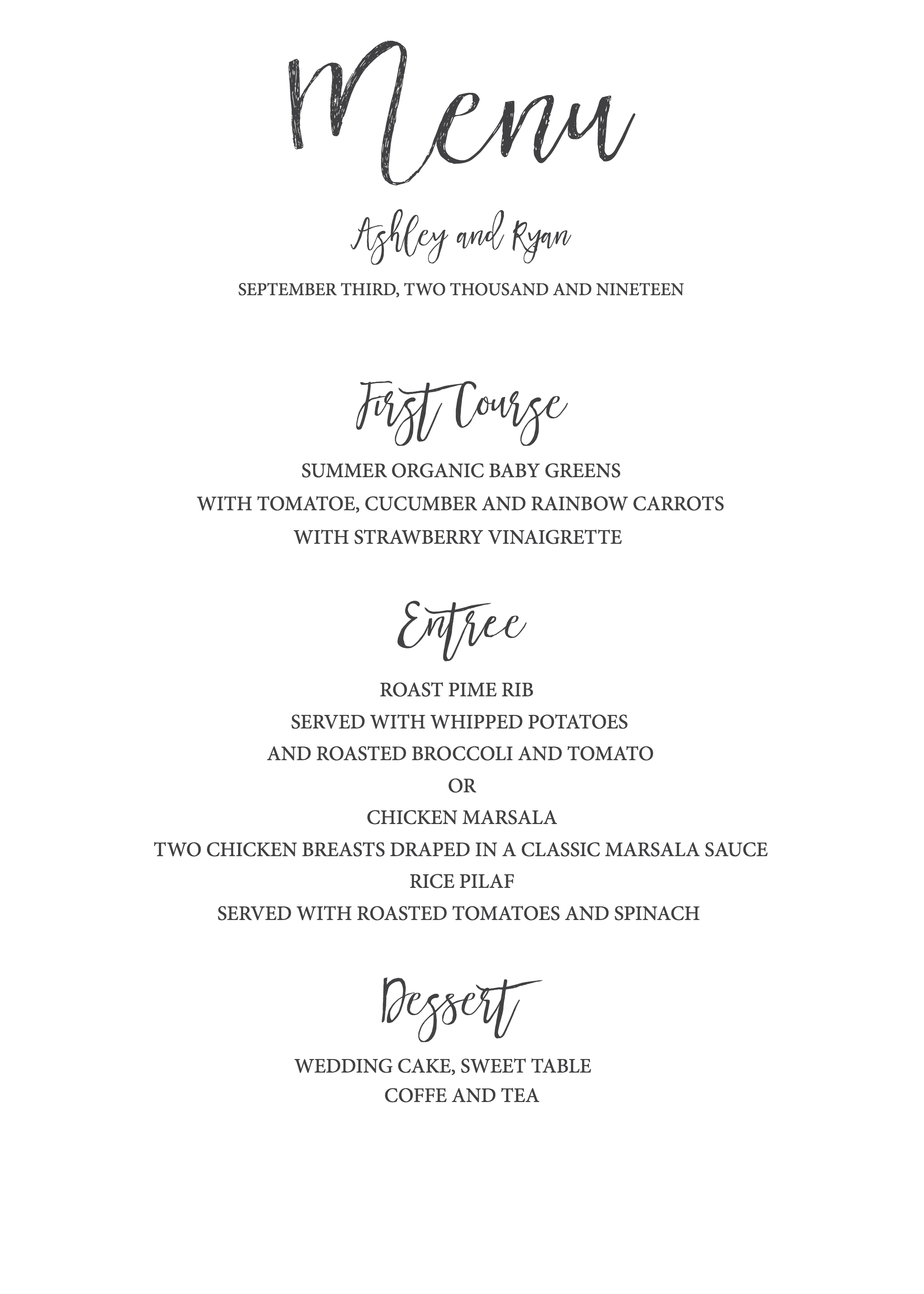 Timeless And Simple Wedding Invitation   Freebies & Free Printables - Free Printable Wedding Menu Card Templates