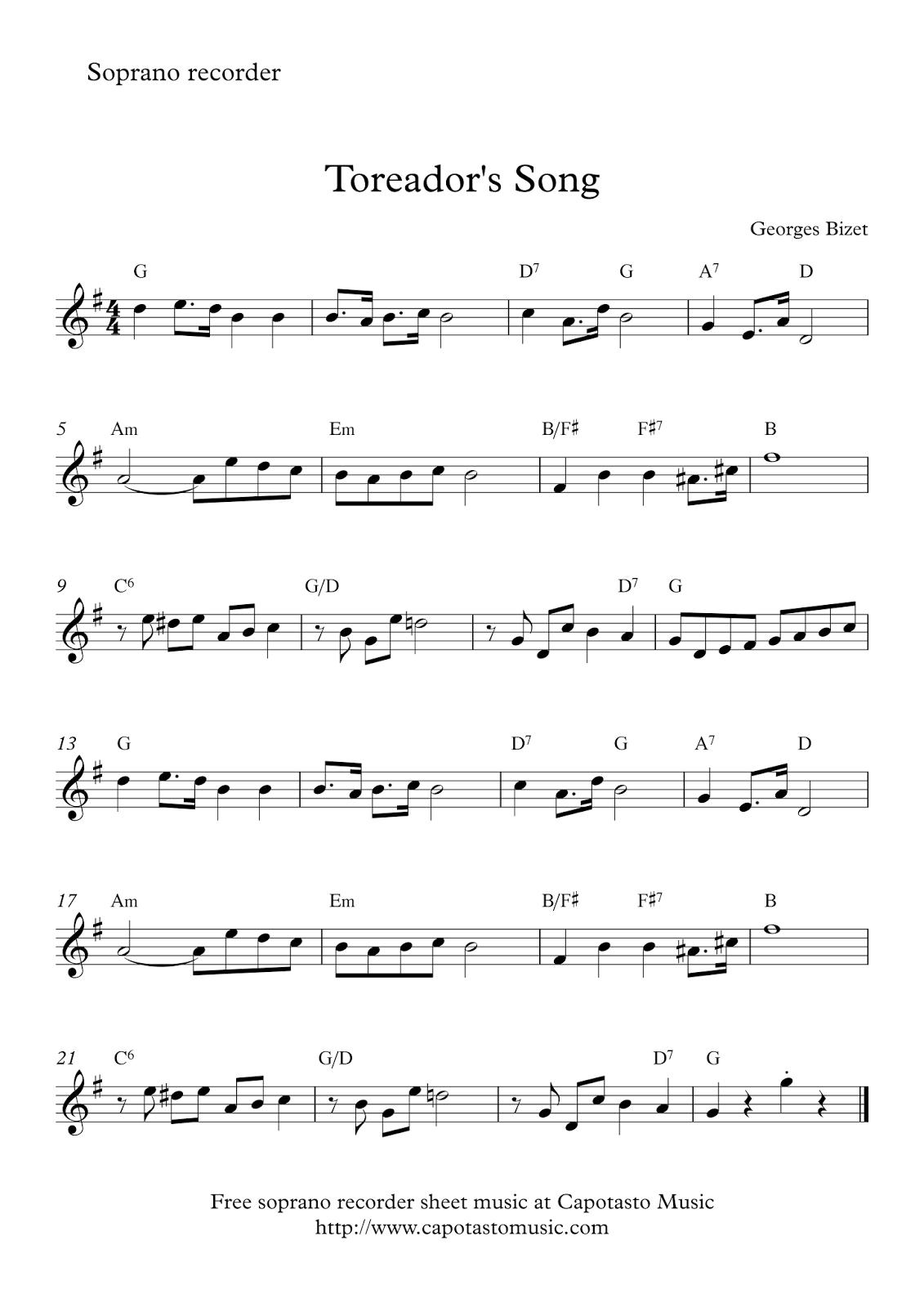 Toreador's Song   Free Easy Soprano Recorder Sheet Music - Free Printable Recorder Sheet Music For Beginners