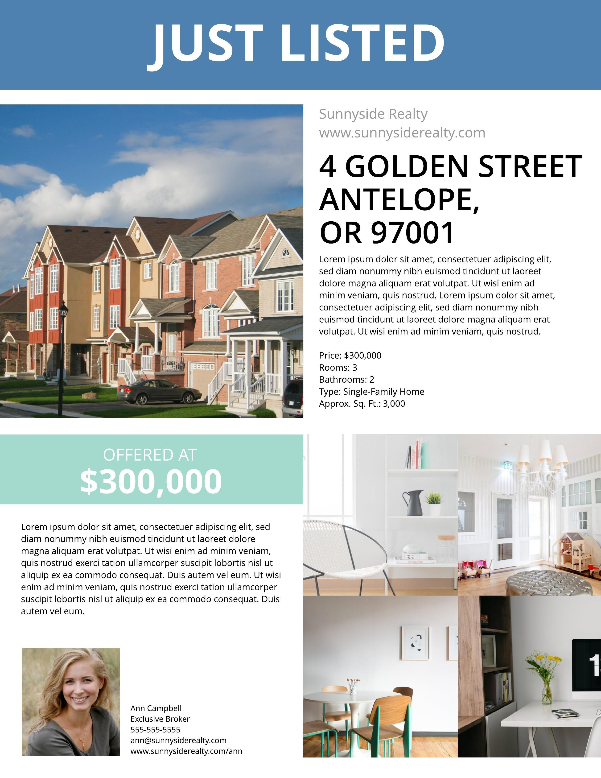Townhouse Listing Flyer Template | Real Estate Marketing Ideas - Free Printable Real Estate Flyer Templates