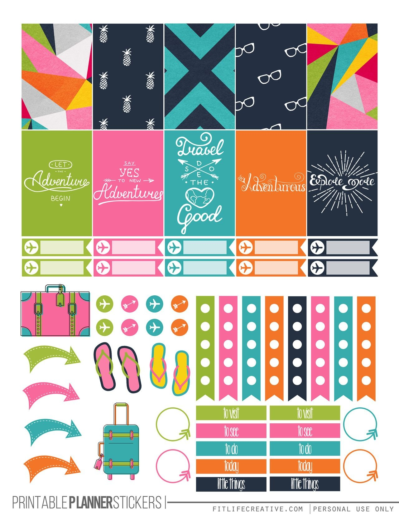 Travel Themed Printable Happy Planner Stickers-Free   Die Cut Crafts - Free Printable Travel Stickers