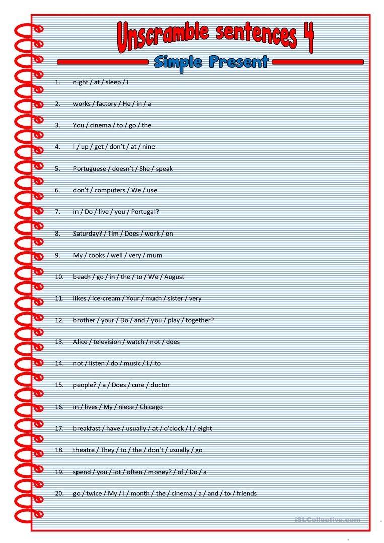 Unscramble Sentences 4 Worksheet - Free Esl Printable Worksheets - Free Printable Scrambled Sentences Worksheets