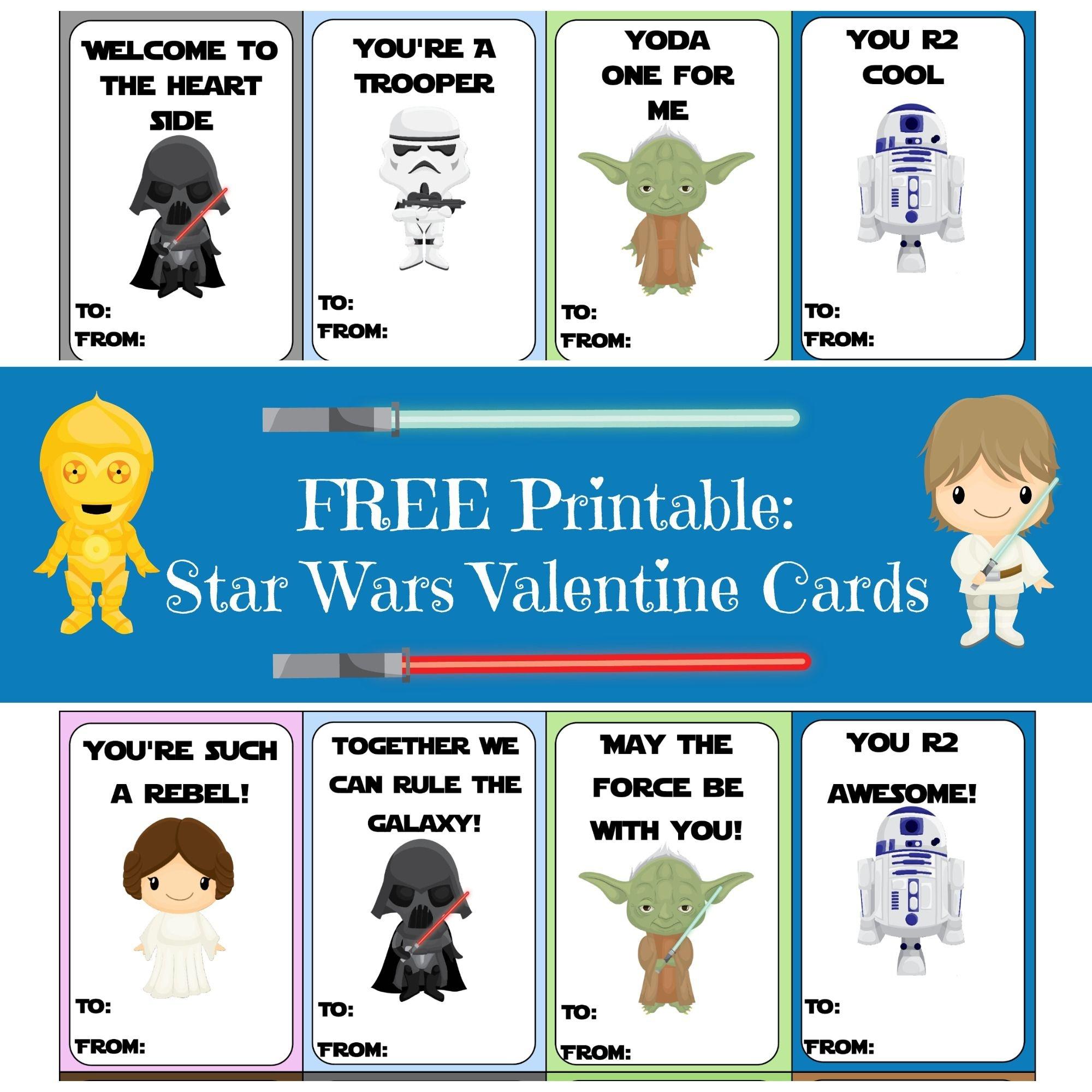 Valentine Card Round-Up   Printables   Starwars Valentines Cards - Free Printable Lego Star Wars Valentines