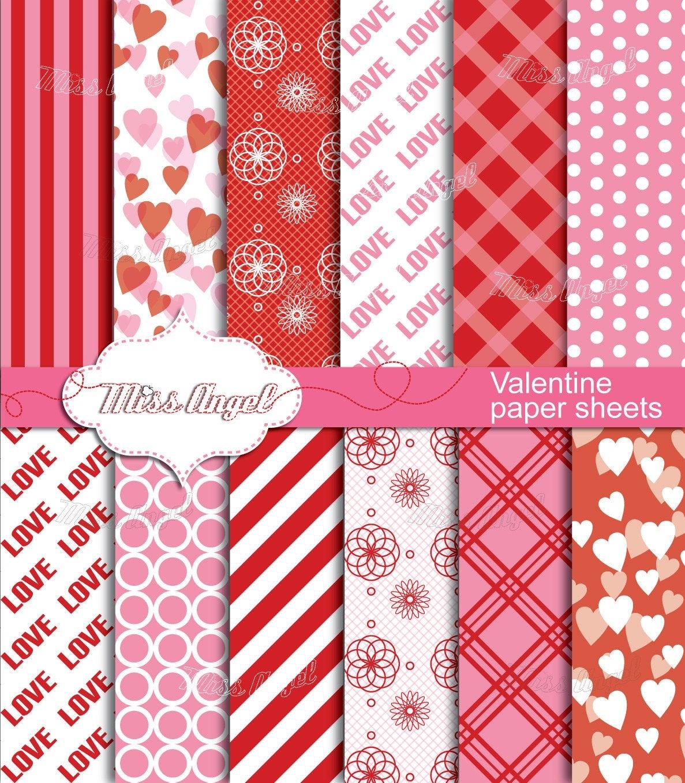 Valentines Digital Sheets. Buy 2 Get 1 Free Buy 4 Get 2 Free   Etsy - Free Printable Pattern Paper Sheets