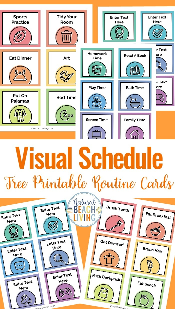 Visual Schedule - Free Printable Routine Cards - Natural Beach Living - Free Printable Visual Schedule For Preschool