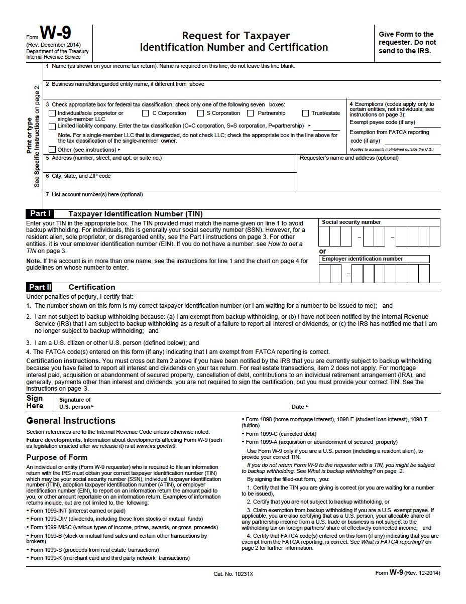 W-9 Request For Taxpayer Identification Number And Certification Pdf - W9 Form Printable 2017 Free