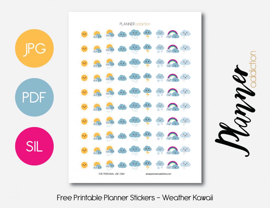 Weather Kawaii – Planner Addiction - Free Printable Kawaii Stickers