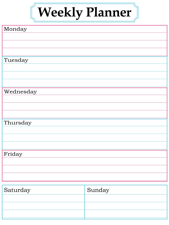 Weekly Planner Printable. Nice, Simple, Clean Lines.   School - Free Printable Blank Weekly Schedule
