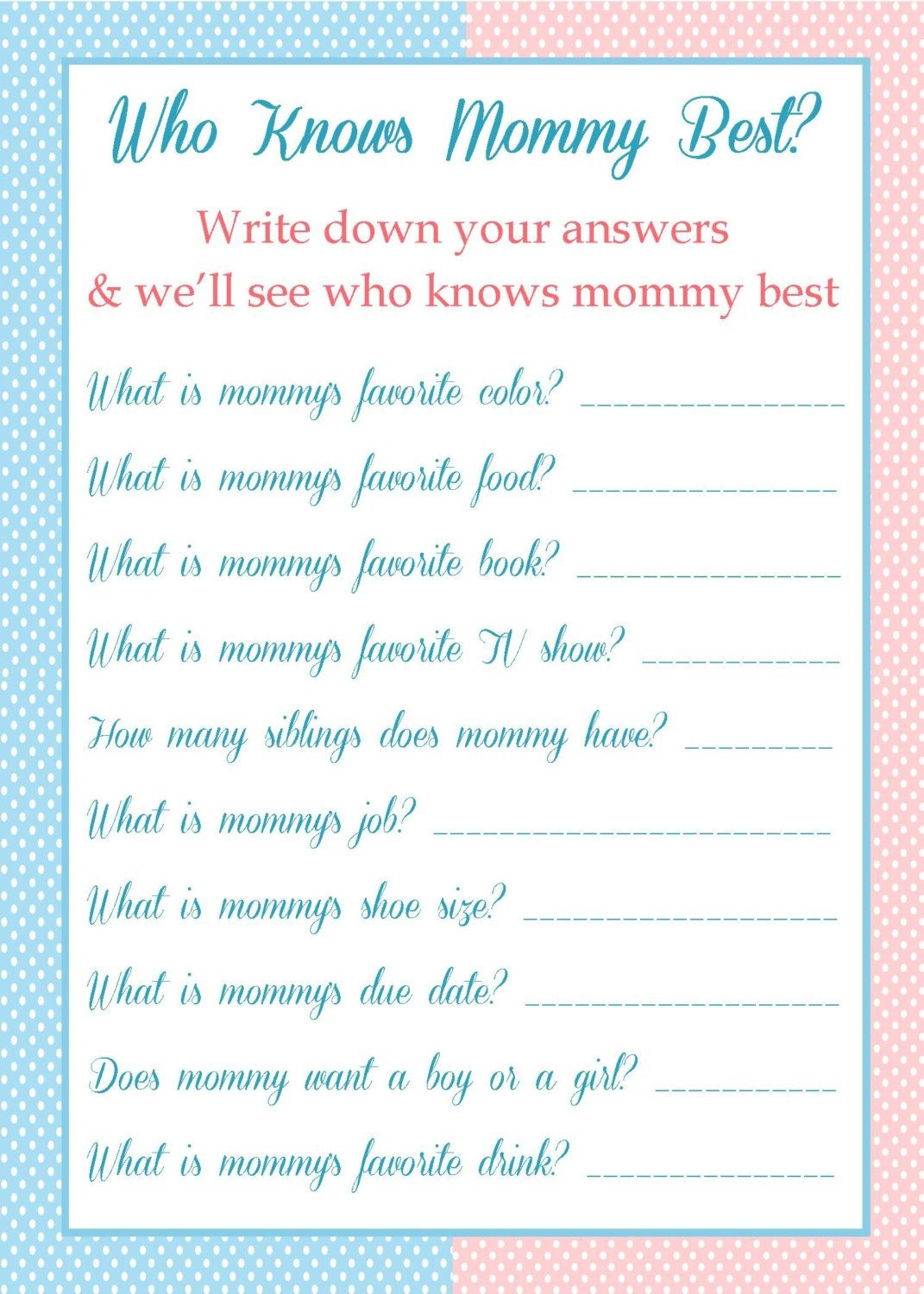 Who Knows Mommy Best - Baby Shower Game - $5.00 - Free Printable Baby Shower Games Who Knows Mommy The Best
