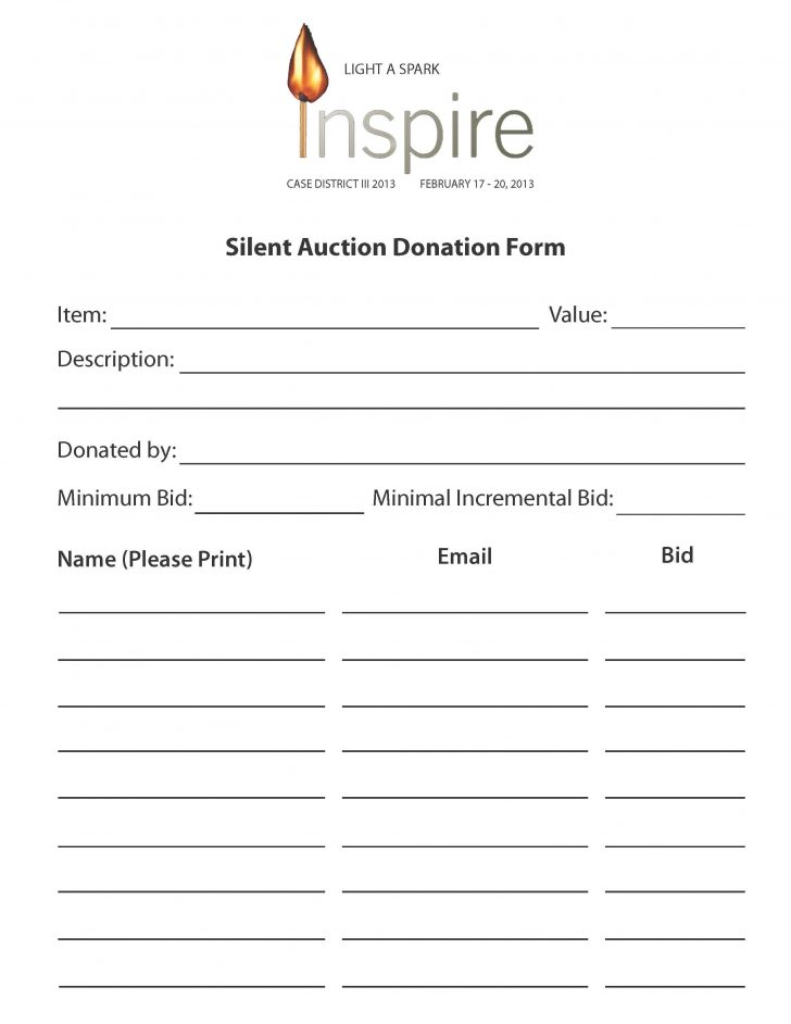Free Printable Silent Auction Bid Sheets