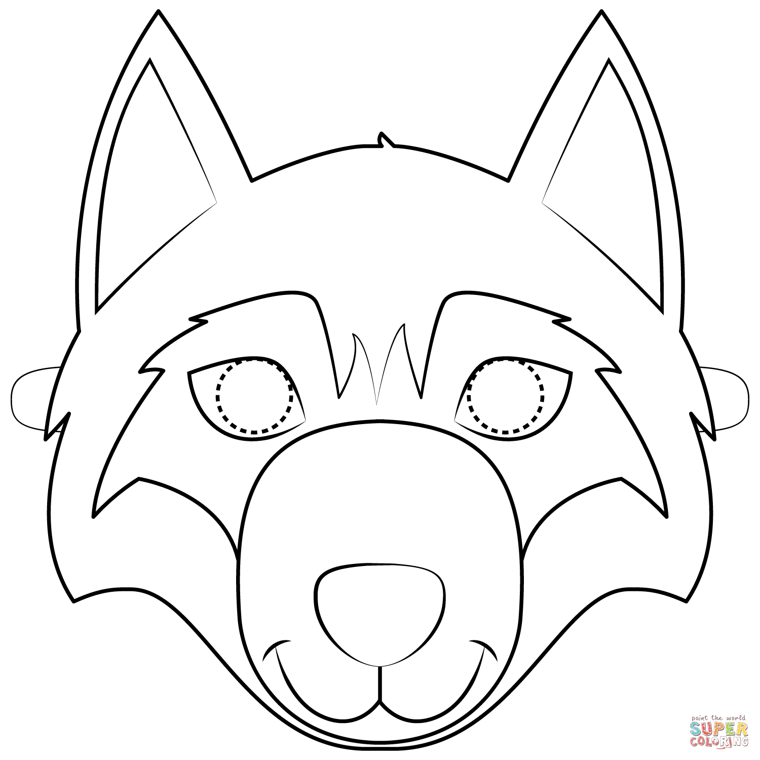 Wolf Mask Coloring Page   Free Printable Coloring Pages - Free Printable Wolf Mask