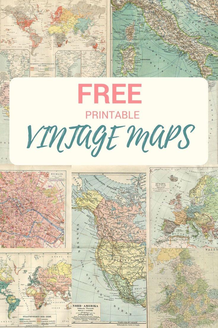 Wonderful Free Printable Vintage Maps To Download | Papercrafts - Free Printable Wedding Maps