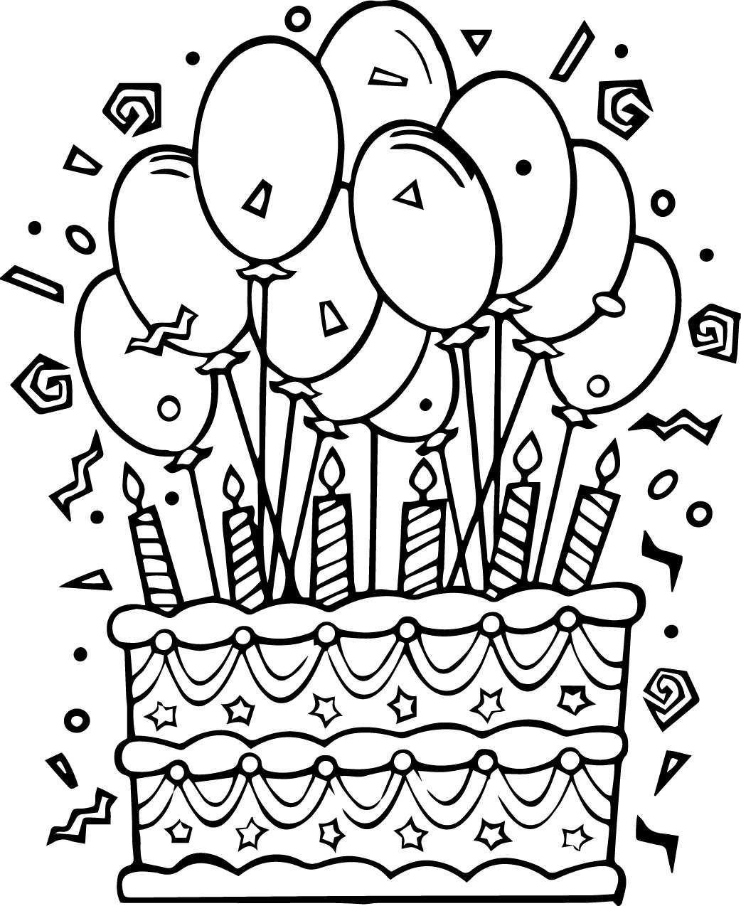 Wonderful Looking Birthday Cake Coloring Pages Happy Book Activities - Free Printable Pictures Of Birthday Cakes
