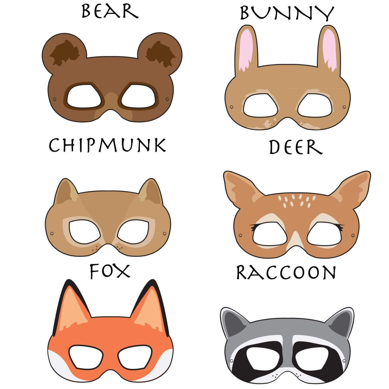 Woodland Forest Animals Printable Masks, Woodland Animal Mask, Bear - Free Printable Bear Mask