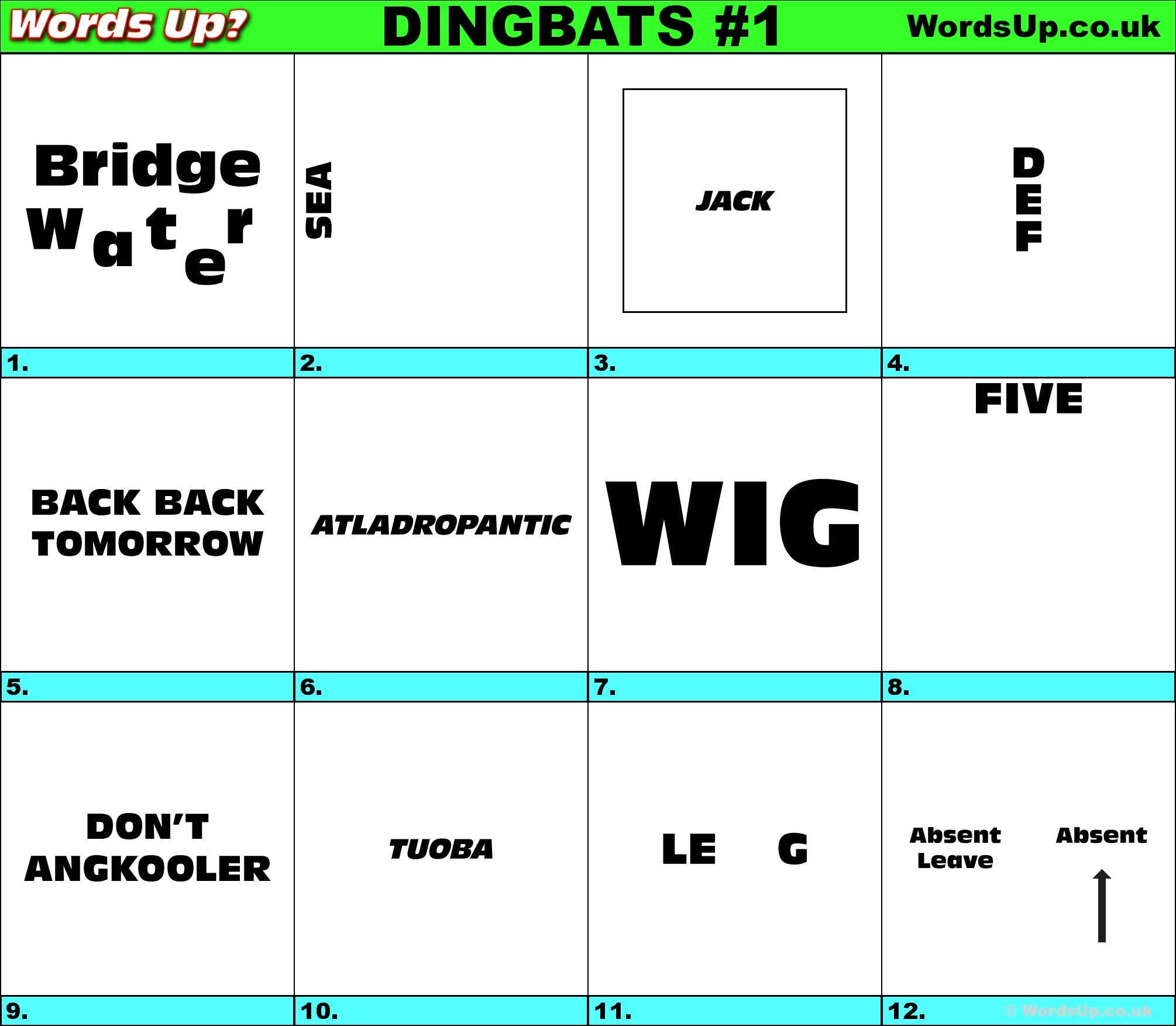 Words Up? Dingbat Puzzles - Free Printable Dingbats Puzzles