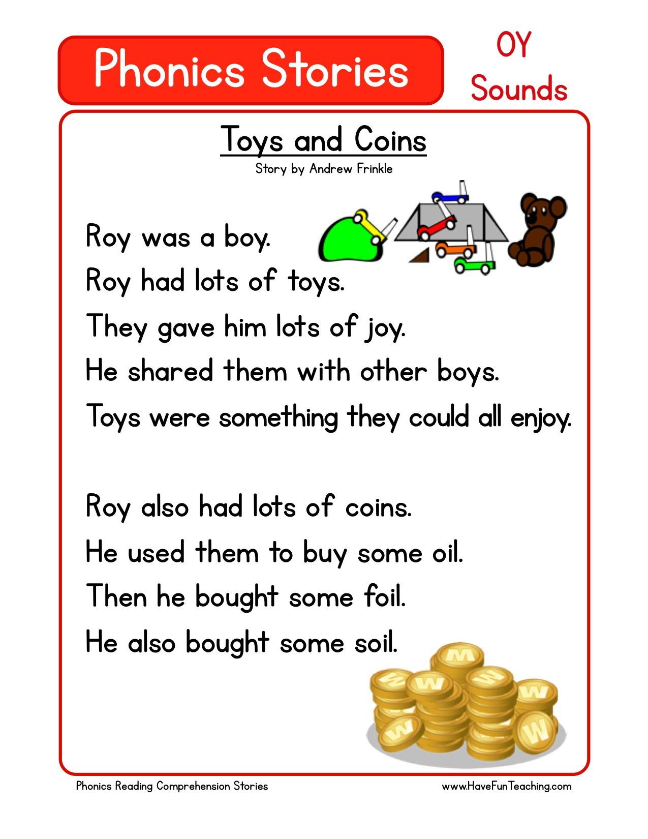 Worksheet : Free Phonics Reading Comprehension Oy Sounds Worksheets - Free Printable Leveled Readers For Kindergarten