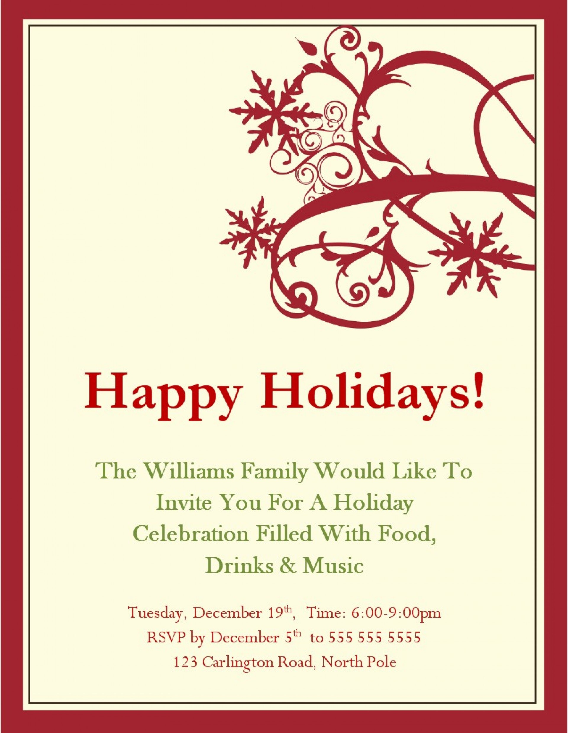005 Template Ideas Free Holiday Invitation Templates Christmas Party - Holiday Invitations Free Printable