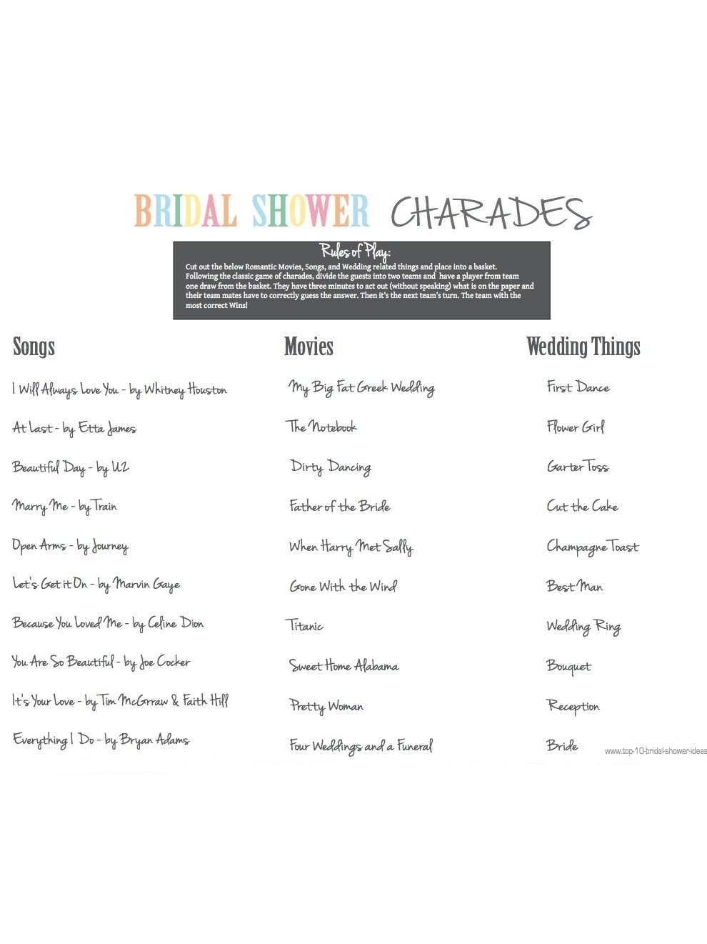 10 Printable Bridal Shower Games You Can Diy   Ashley's Wedding - Free Printable Household Shower Games