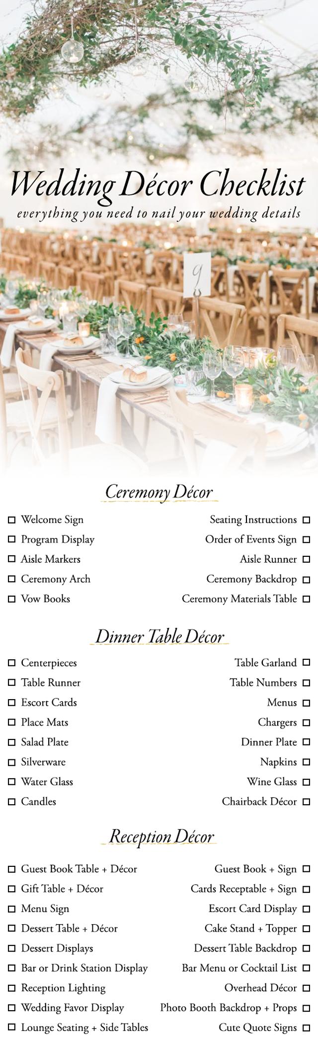 10 Printable Wedding Checklists For The Organized Bride – Sheknows - Free Printable Wedding Decorations