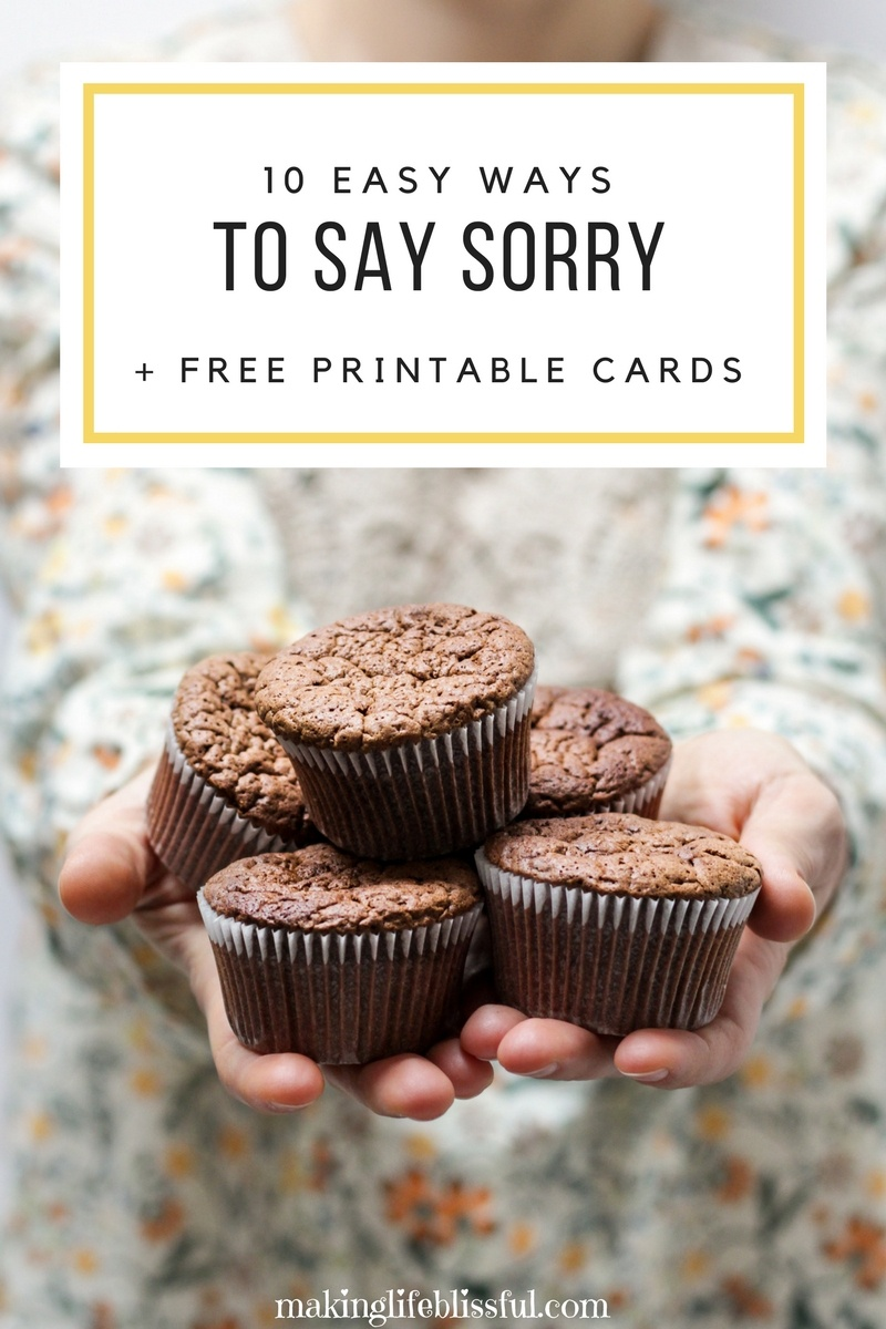 10 Ways To Apologize And Free Printable Cards   Making Life Blissful - Free Printable I Am Sorry Cards