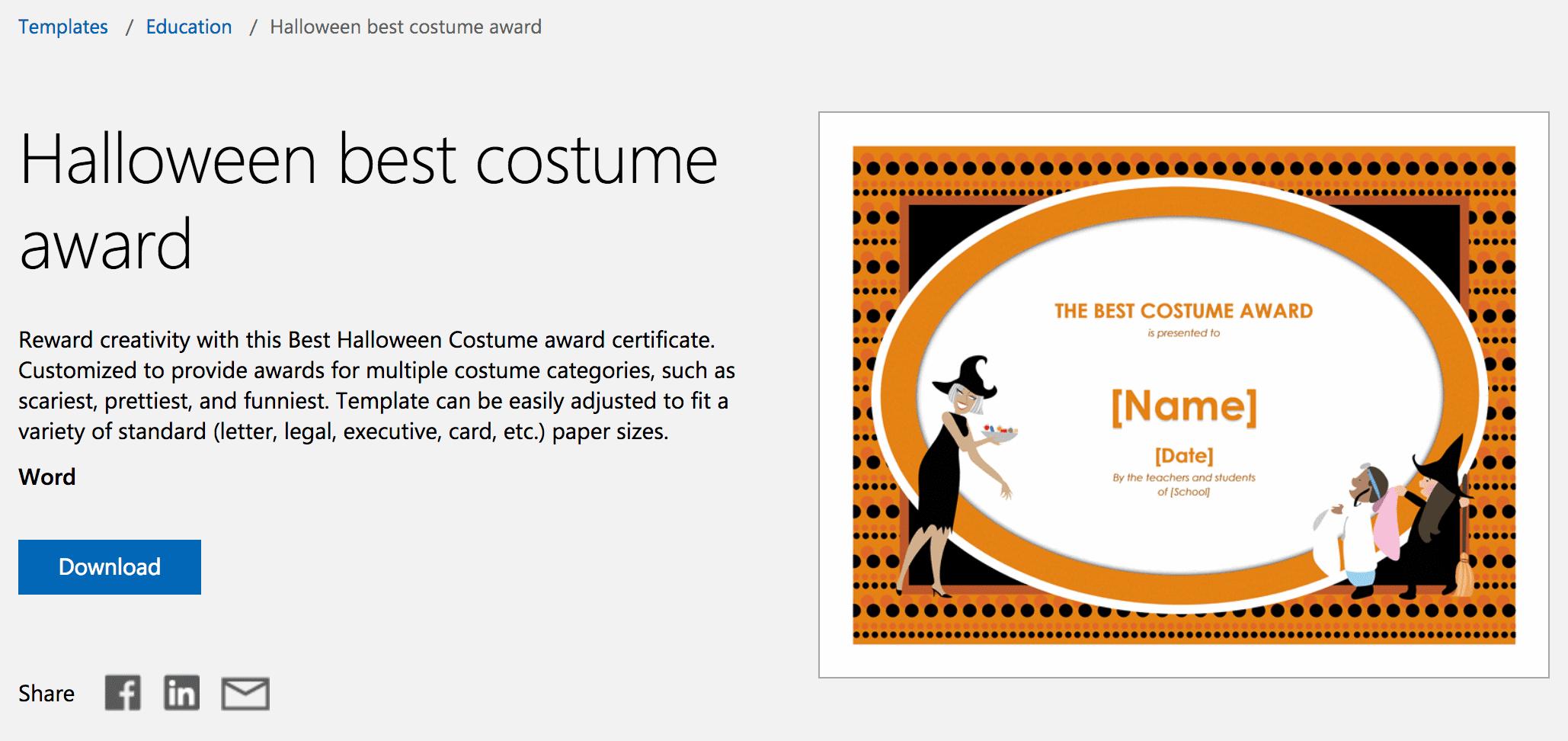 12 Free Halloween-Themed Templates For Microsoft Word - Free Printable Halloween Award Certificates