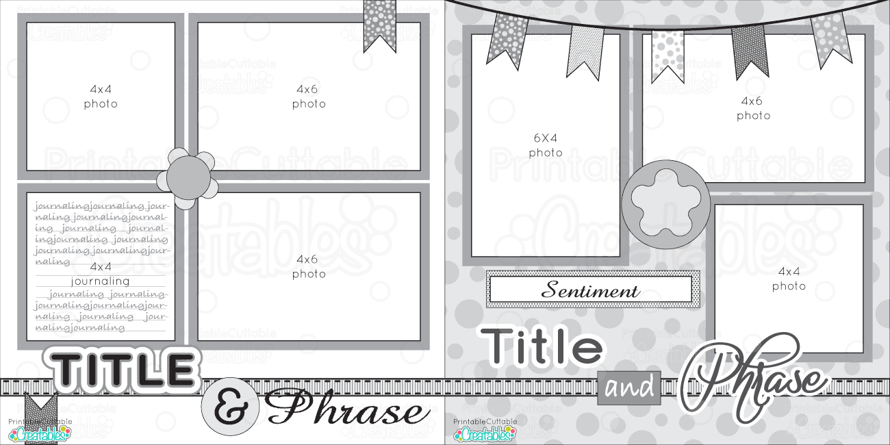 12X12 Two Page Free Printable Scrapbook Layout   Scrapbook Sketches - Free Printable Scrapbook Templates
