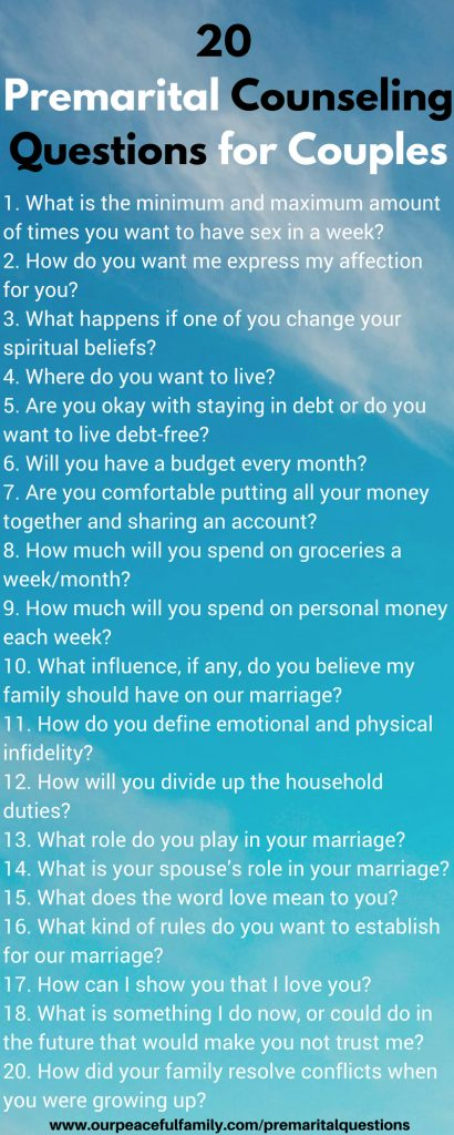 25 Premarital Counseling Questions Every Couple Must
