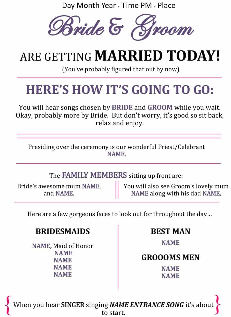 37 Printable Wedding Program Examples & Templates ᐅ Template Lab - Free Printable Wedding Program Templates Word