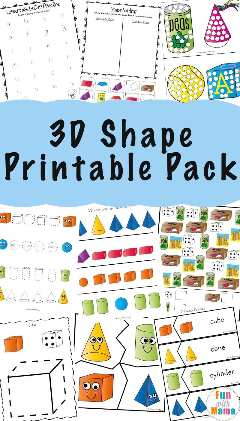 3D Shape Worksheets - Fun With Mama - 3D Shape Bingo Free Printable