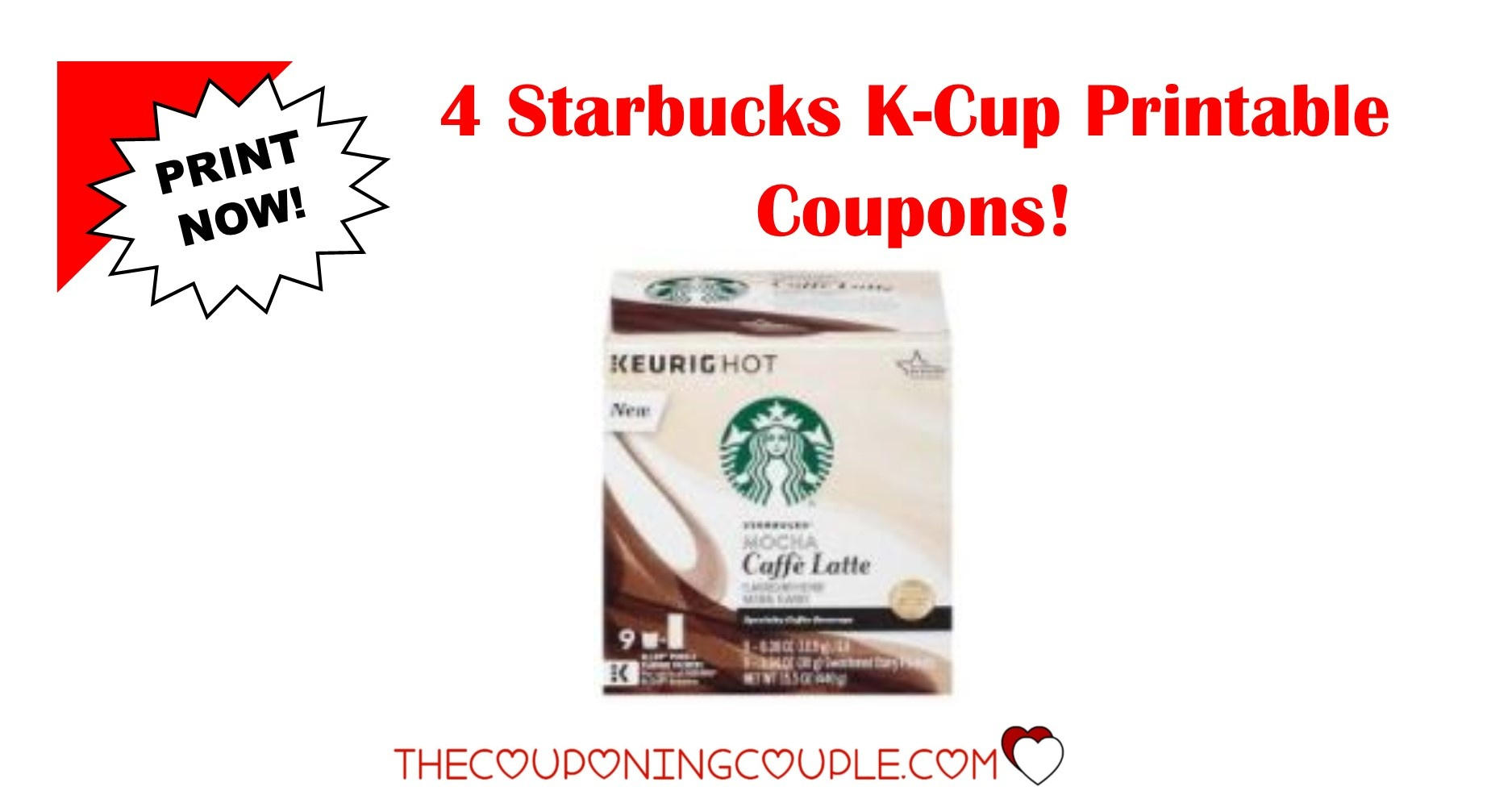 4 New Starbucks K-Cup Pods Printable Coupons ~ Save $7.75! - Free Starbucks Coupon Printable