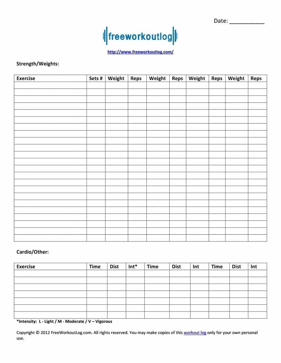 40+ Effective Workout Log & Calendar Templates ᐅ Template Lab - Free Printable Workout Log Sheets
