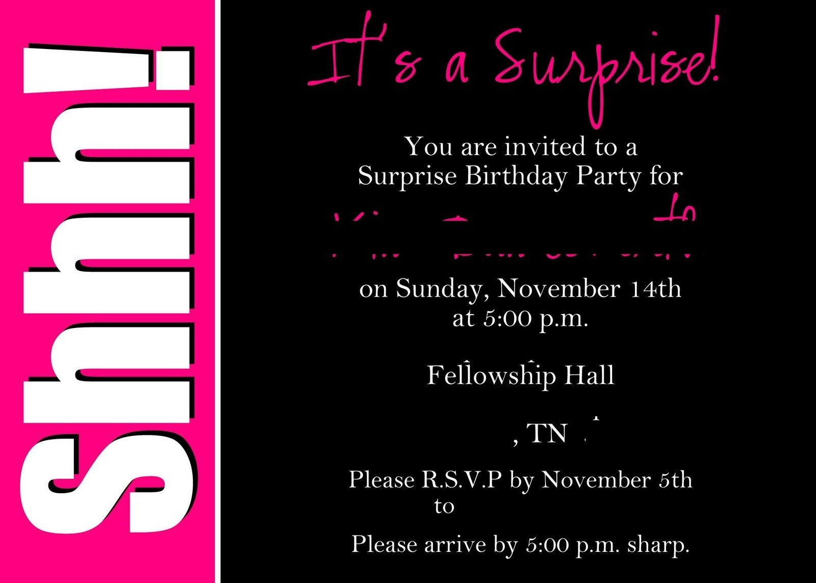 40Th Surprise Birthday Party Invitations   Free Printable Birthday - Free Printable Surprise Party Invitations