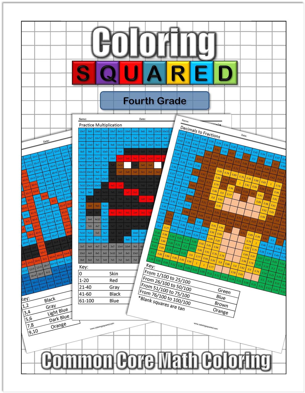 4Th Grade Math - Coloring Squared - Free Printable Fun Math Worksheets For 4Th Grade