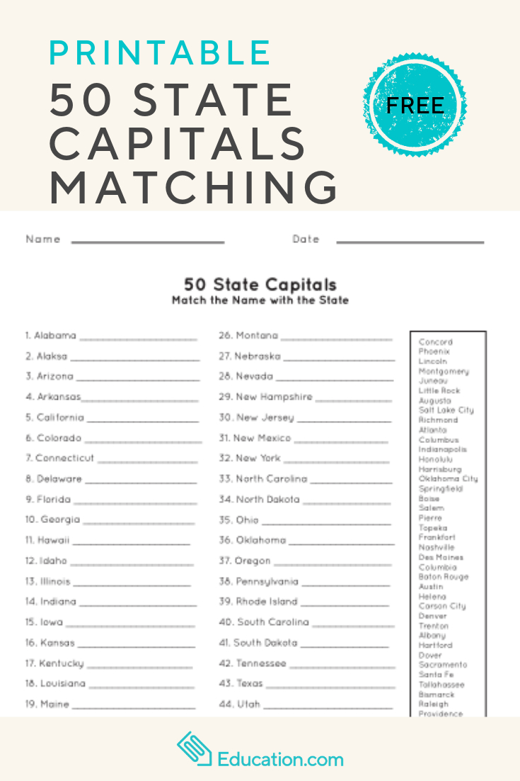 50 State Capitals | Social Studies | Worksheets, English Worksheets - Free Printable States And Capitals Worksheets