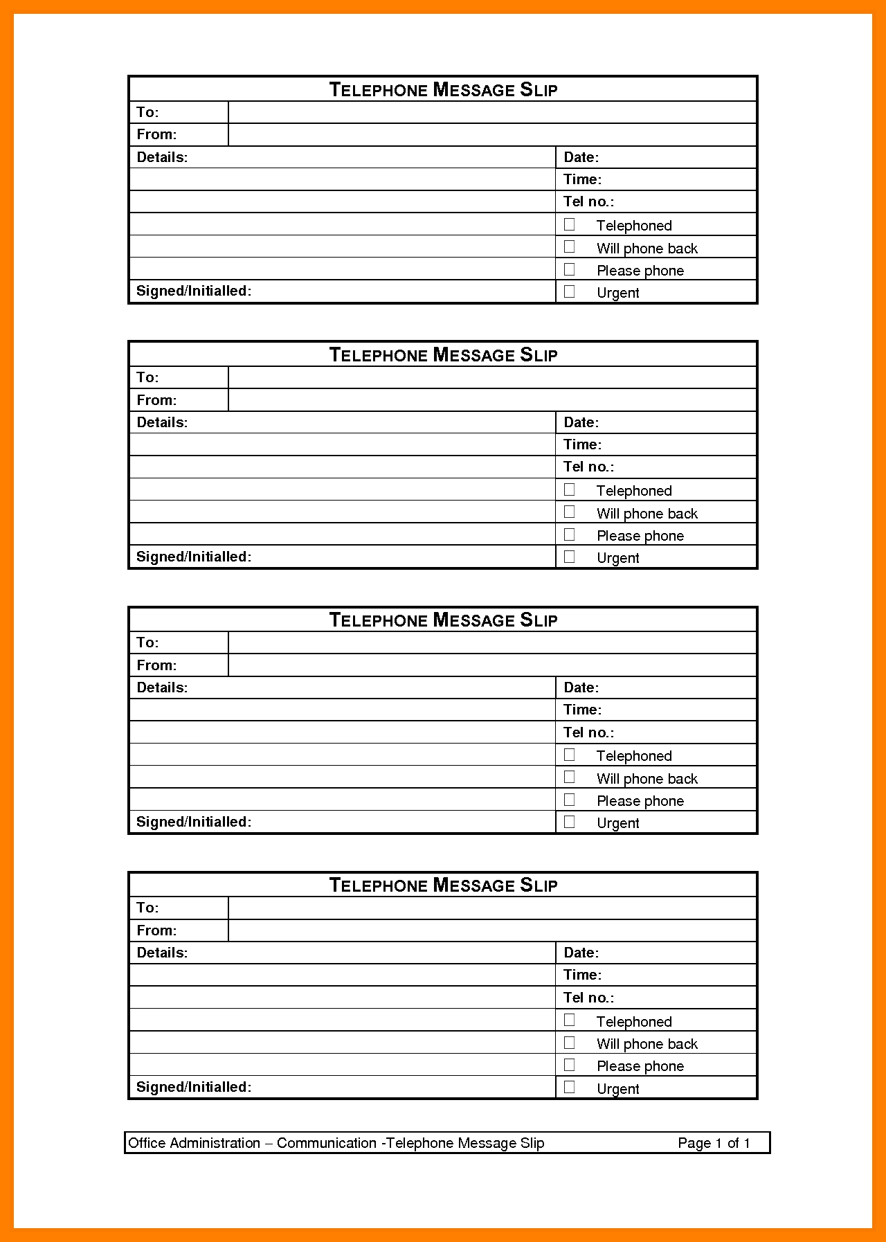 8+ Free Phone Message Template | Shrewd-Investment - Free Printable Phone Message Template