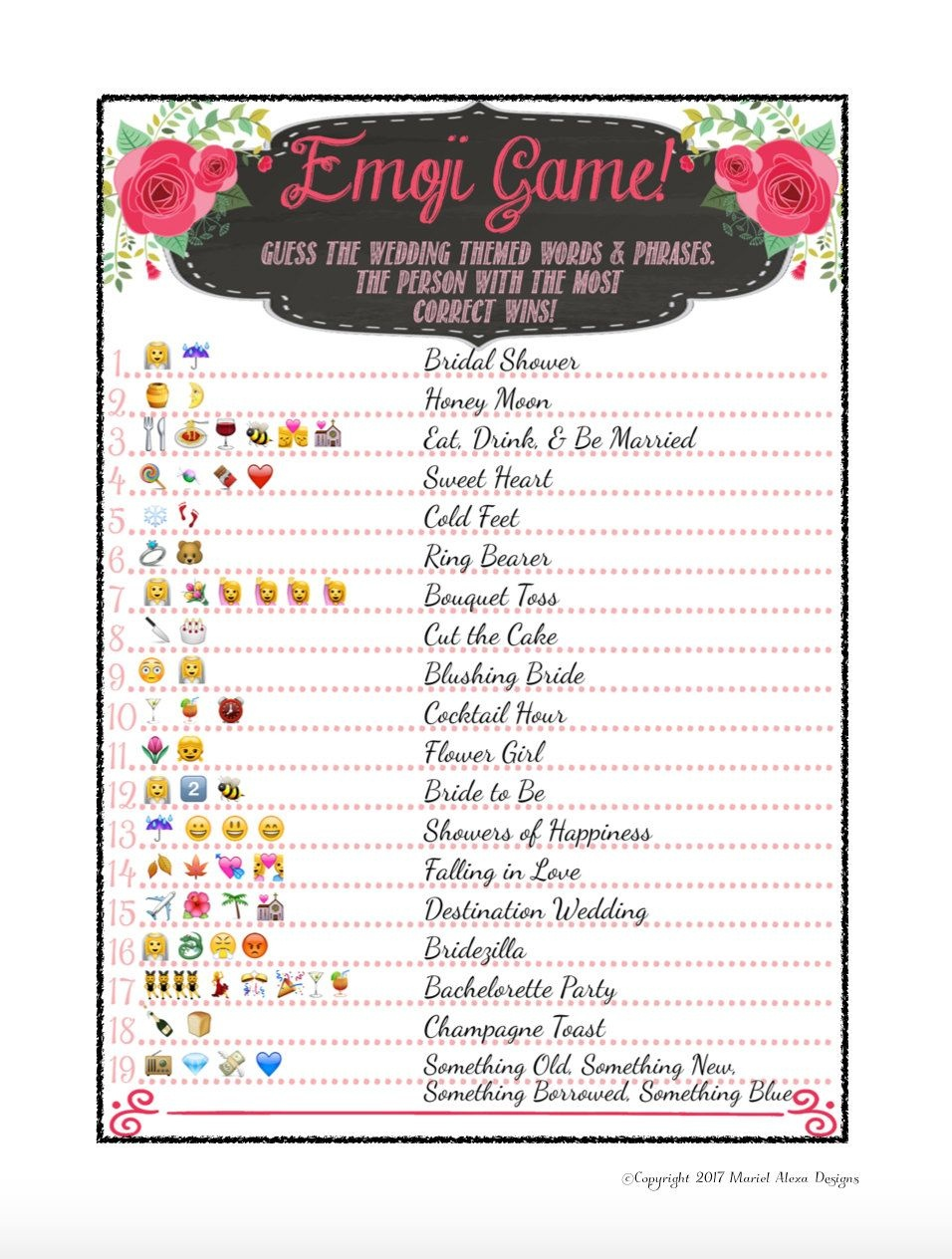 8 Free Printable Bridal Shower Games - Download Some Fun Today!   My - Wedding Emoji Pictionary Free Printable