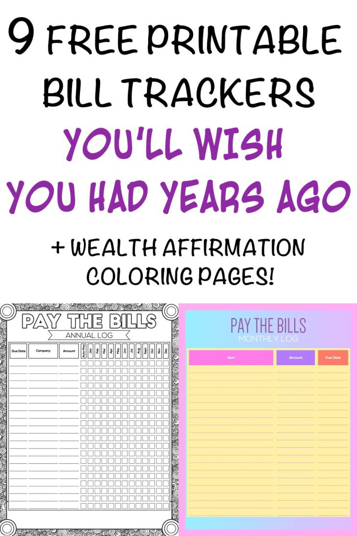Free Printable Monthly Bill Checklist