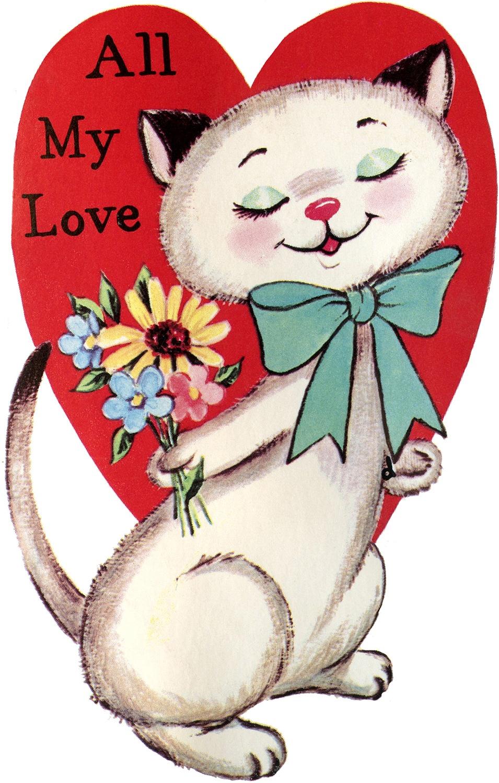 9 Retro Valentines With Animals! - The Graphics Fairy - Free Printable Vintage Valentine Pictures
