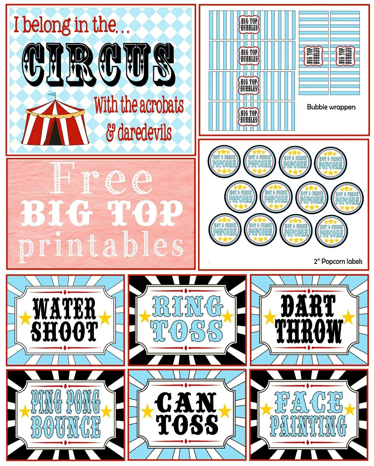 A First Birthday {Big Top} Bash + Free Printables   -♥- Parties - Free Printable Carnival Decorations