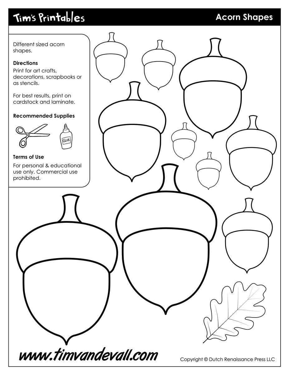 Acorn Templates / Acorn Shapes | Preschool: Fall | Felt Crafts - Acorn Template Free Printable