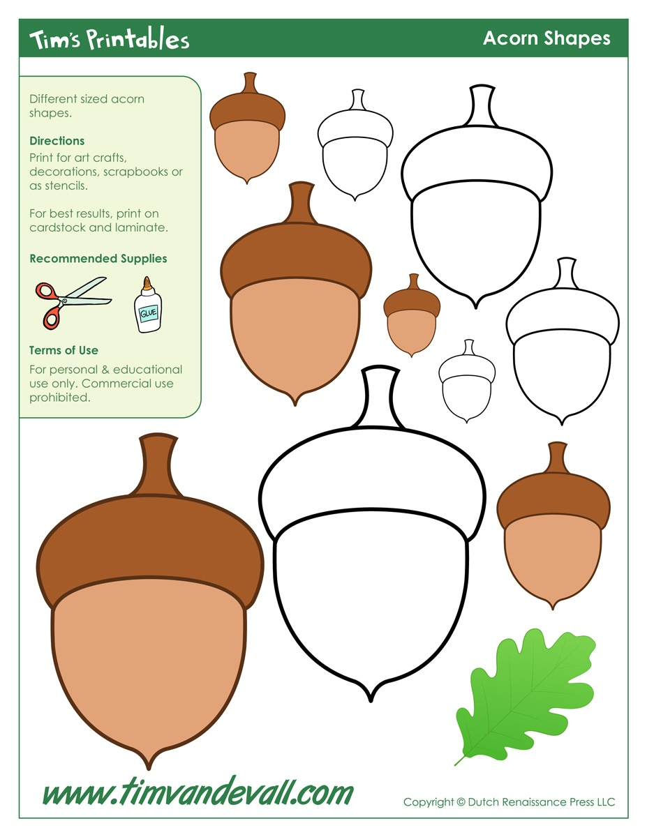 Acorn Templates | Printable Acorn Shapes | Blank Shape Pdfs - Acorn Template Free Printable