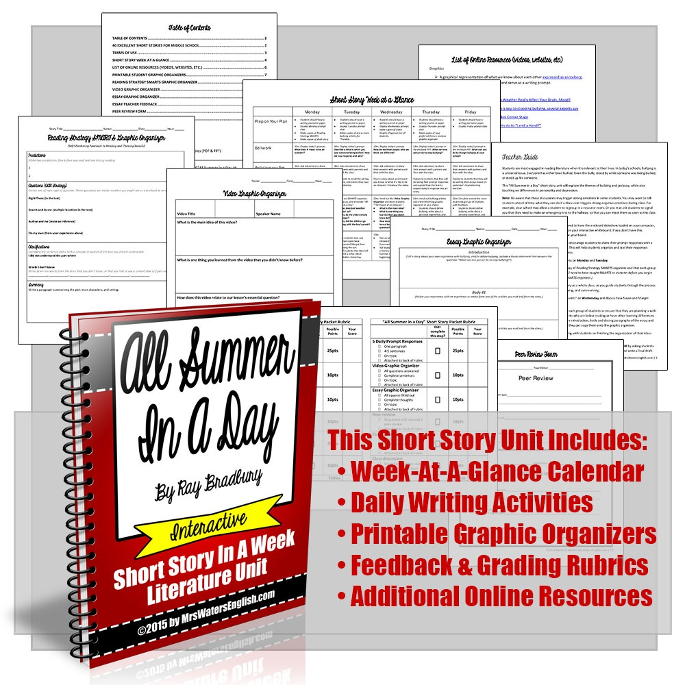 All Summer In A Day Short Story In A Week Unit With Writing Project - Free Printable Short Stories For High School Students