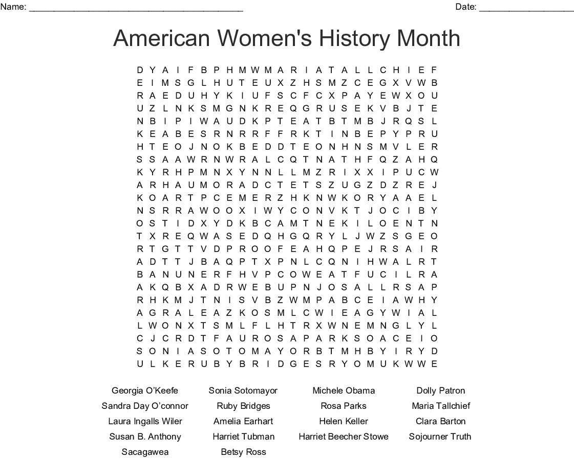 American Women's History Month Word Search - Wordmint - Free Printable Black History Month Word Search