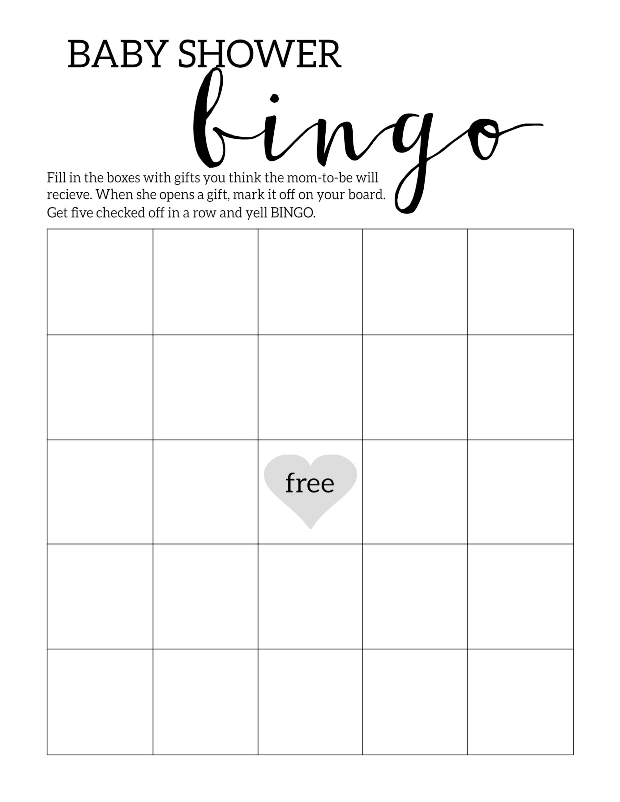Baby Shower Bingo Printable Cards Template - Paper Trail Design - Free Printable Baby Shower Bingo Cards