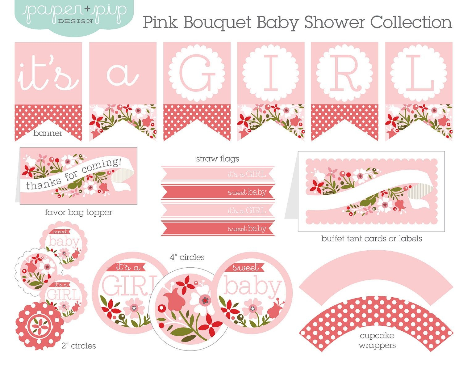 Baby Shower Decorations Printable Pink Bouquetpaperandpip - Baby Girl Banner Free Printable