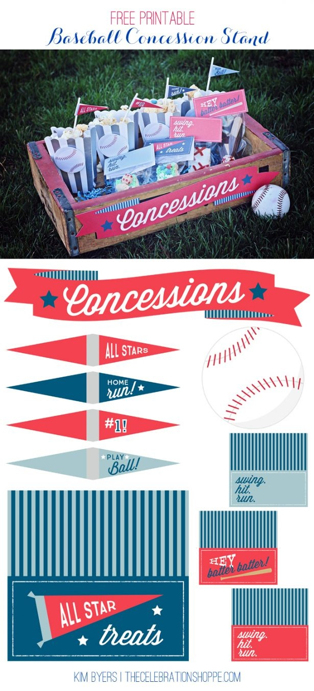 Baseball Party Decoration Ideas & Supplies   Free Printables - Free Concessions Printable